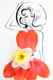 Hand drawn beautiful female silhouette wearing natural floral pattern dress Royalty Free Stock Photography