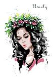 Hand drawn beautiful forest girl in flower wreath. Young woman looks like a nymph dryad. Fashion woman portrait. royalty free illustration