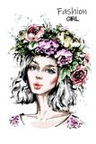 Hand drawn beautiful forest girl in flower wreath. Young woman looks like a nymph dryad. Fashion woman portrait. Sketch royalty free illustration