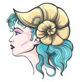 Beautiful Girl Face in Seashell Hat. Hand Drawn Beautiful Girl face in Seashell hat and Blue hair. Vector illustration royalty free illustration