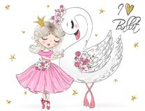 Free Hand Drawn Beautiful, Lovely, Little Ballerina Girl With Freckles And Flowers On Her Head. Royalty Free Stock Photography - 144667057