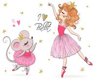 Free Hand Drawn Beautiful, Lovely, Little Mouse And Ballerina Girl With Crown On Her Heads. Stock Photography - 157587772