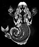 Beautiful magic mermaid girl with heart and moon. Hand drawn beautiful magic mermaid girl with long hair, heart and moon. Ocean siren in retro style. Sea Royalty Free Stock Photography