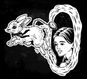 Alice in Wonderland. Chasing the white rabbit. Hand drawn beautiful portrait of a girl Alice in Wonderland. Chasing the white rabbit. Graphic drawing in retro Royalty Free Stock Photo