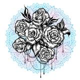Hand-drawn beautiful roses over the Mandala, ornate round pattern. Tattoo art. Graphic vintage composition in linear style. Vector royalty free illustration