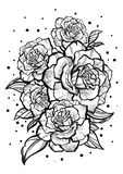 Hand-drawn beautiful roses. Tattoo art. Graphic vintage composition. Vector illustration isolated. T-shirts, print, posters royalty free illustration