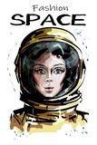 Hand drawn beautiful space woman portrait. Stylish female astronaut. Space woman character in spacesuit. stock illustration