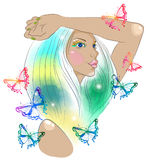 Hand Drawn Beautiful woman with butterfly Stock Photography