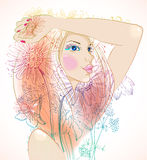 Hand Drawn Beautiful woman with flowers Royalty Free Stock Images