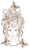 Hand Drawn Beautiful woman with flowers in hair Royalty Free Stock Photo