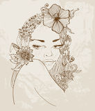 Hand Drawn Beautiful woman with flowers in hair Stock Photo