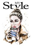 Hand drawn beautiful woman portrait. Fashion woman holding paper coffee cup. Sketch royalty free illustration