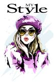 Hand drawn beautiful woman portrait. Fashion woman. Stylish girl in sunglasses. Sketch Stock Photography