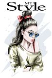 Hand drawn beautiful woman portrait. Fashion woman. Stylish lady with long hair. Cute girl in sunglasses with fashion hairstyle. Sketch Stock Images