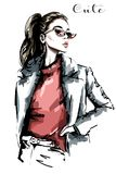 Hand drawn beautiful woman portrait. Fashion woman in sunglasses. Sketch. Vector illustration Royalty Free Stock Photos