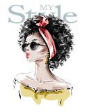 Hand drawn beautiful young African American woman with afro hairstyle. Stylish black skin girl in sunglasses. Fashion woman look.