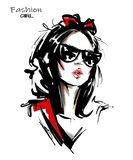 Hand drawn beautiful young woman with bow in her hair. Stylish girl. Fashion woman look. Sketch. Vector illustration royalty free illustration
