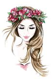 Hand drawn beautiful young woman in flower wreath. Cute girl with long hair. Sketch.
