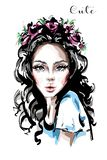 Hand drawn beautiful young woman with flower wreath in her hair. Stylish elegant girl. Fashion woman portrait. Sketch royalty free illustration