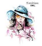 Hand drawn beautiful young woman in hat. Stylish elegant girl in sunglasses. Fashion woman portrait. Sketch vector illustration