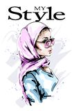 Hand drawn beautiful young woman in head scarf. Stylish elegant girl in hijab. Fashion woman portrait. vector illustration
