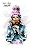 Hand drawn beautiful young woman holding autumn leaf. Stylish elegant girl. Fashion woman portrait. Sketch vector illustration