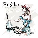 Hand Drawn Beautiful Young Woman In Hat With Scooter. Fashion Woman Riding. Stylish Girl In Fashion Clothes.