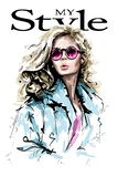 Hand drawn beautiful young woman with long blonde hair. Fashion lady. Stylish girl in sunglasses. Fashion woman look. Sketch royalty free illustration