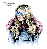 Hand drawn beautiful young woman with long blonde hair. Stylish girl in fashion clothing. Fashion woman look. Sketch royalty free illustration