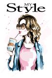 Hand drawn beautiful young woman with paper coffee cup. Fashion woman in sunglasses. Stylish lady. Royalty Free Stock Photography