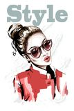 Hand drawn beautiful young woman portait. Fashion woman in sunglasses. Stylish girl in red jacket. Sketch Stock Images