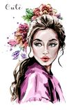 Hand drawn beautiful young woman portrait. Fashion woman. Cute girl with flowers.