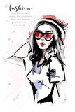 Hand drawn beautiful young woman in red hat. Stylish elegant girl. Fashion woman portrait. Sketch vector illustration