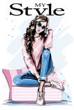 Hand drawn beautiful young woman sitting on soft pillows. Fashion woman in sunglasses. Stylish outfit. Sketch stock illustration