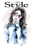 Hand drawn beautiful young woman in sunglasses. Fashion woman. Sketch. Vector illustration Stock Image