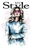 Hand drawn beautiful young woman in sunglasses. Stylish elegant girl with blonde hair. Fashion woman look. Sketch royalty free illustration