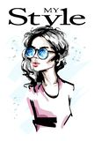 Hand drawn beautiful young woman in sunglasses. Stylish elegant girl. Fashion woman portrait. stock illustration