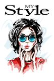 Hand drawn beautiful young woman in sunglasses. Stylish elegant girl. Fashion woman portrait. royalty free illustration