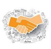 Hand-drawn bedrijfs geplaatste krabbels en handdrukpictogram Stock Afbeelding