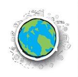 Hand-drawn bedrijfs geplaatste krabbels en het pictogram van de wereldkaart Royalty-vrije Stock Afbeelding