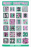 Hand-drawn Beeldverhaal Advent Calendar Stock Afbeeldingen