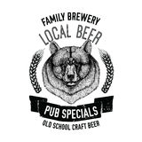 Hand drawn beer emblem with american black bear Template for badge, logo, menu cover, patch Royalty Free Stock Photo