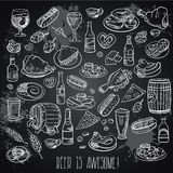 Hand drawn beer and food stock illustration