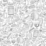 Hand drawn beer and food, seamless background Royalty Free Stock Photography
