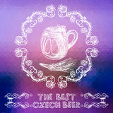 Hand drawn beer glass over bright background Royalty Free Stock Photo