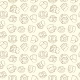 Hand drawn beer glasses and  pretzel  seamless pattern Royalty Free Stock Photo