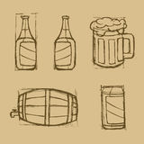 Hand drawn beer set on the brown background. Stock Photography