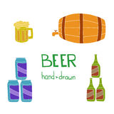 Hand drawn beer set on the brown background. Royalty Free Stock Images