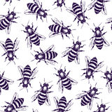Hand drawn bees pattern Stock Photography