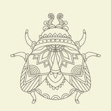 Hand drawn beetle/bug coloring page. Stock Photography